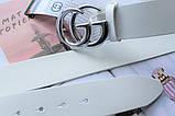 Женский ремень Gucci пряжка серебро белый, фото 3