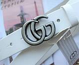 Женский узкий ремень Gucci пряжка хром белый, фото 2