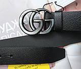 Женский ремень Gucci пряжка хром черный, фото 2