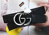Женский ремень Gucci пряжка хром черный, фото 3