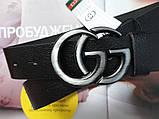 Женский ремень Gucci пряжка хром черный, фото 4
