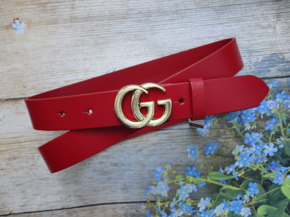 Женский узкий ремень Gucci пряжка золото красный