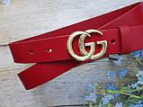Женский узкий ремень Gucci пряжка золото красный, фото 2