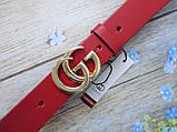 Женский узкий ремень Gucci пряжка золото красный, фото 3