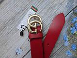 Женский узкий ремень Gucci пряжка золото красный, фото 4