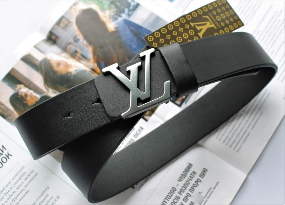 Кожаный ремень Louis Vuitton пряжка серебро черный