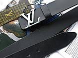 Кожаный ремень Louis Vuitton пряжка серебро черный, фото 2
