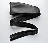 Женский пояс кушак из натуральной кожи широкий черный, фото 2
