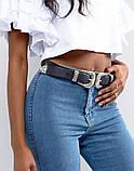 Женский кожаный ремень с двойной пряжкой черный, фото 4