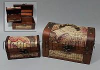 Набор деревянных шкатулок Карта 18х10х10/12х7х6см