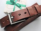 """Мужской кожаный ремень """"Morse"""" коричневый, фото 2"""