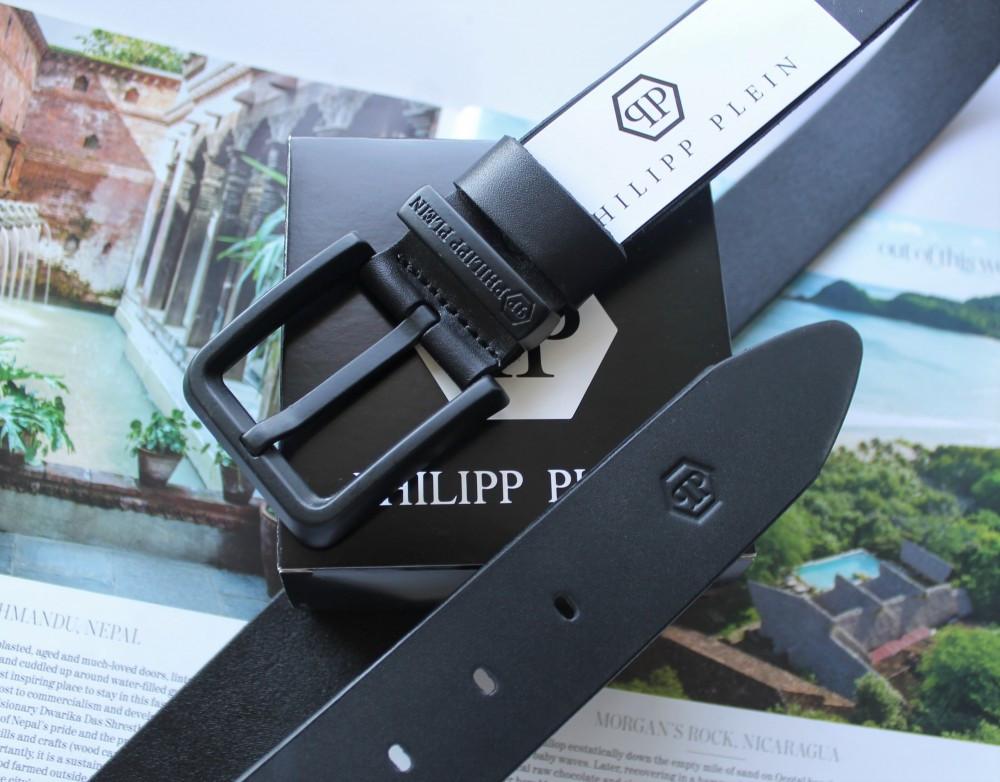 Кожаный ремень с черной пряжкой Philipp Plein black