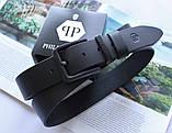 Кожаный ремень с черной пряжкой Philipp Plein black, фото 2