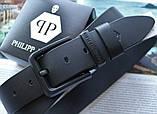 Кожаный ремень с черной пряжкой Philipp Plein black, фото 3