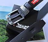 Топовый мужской кожаный ремень Levis черный, фото 3