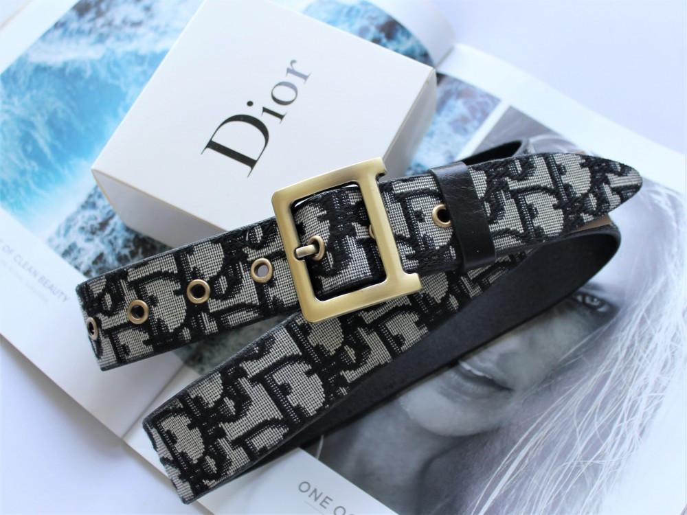 Женский ремень Dior quake серо-черный