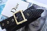 Женский кожаный ремень с тиснением Dior черный, фото 2