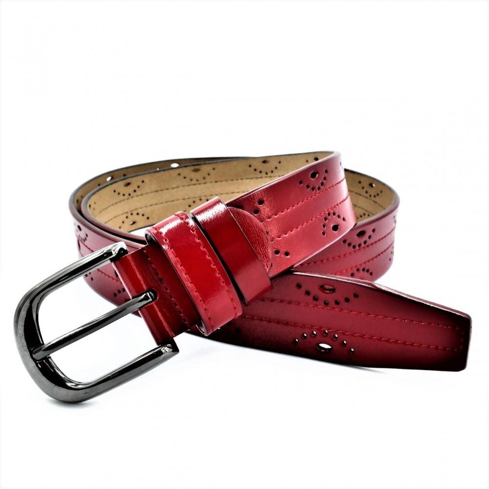 Женский кожаный ремень Weatro Красный nwzh-35k-96