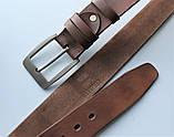 """Мужской кожаный ремень """"Lamo"""" для джинсов коричневый, фото 3"""