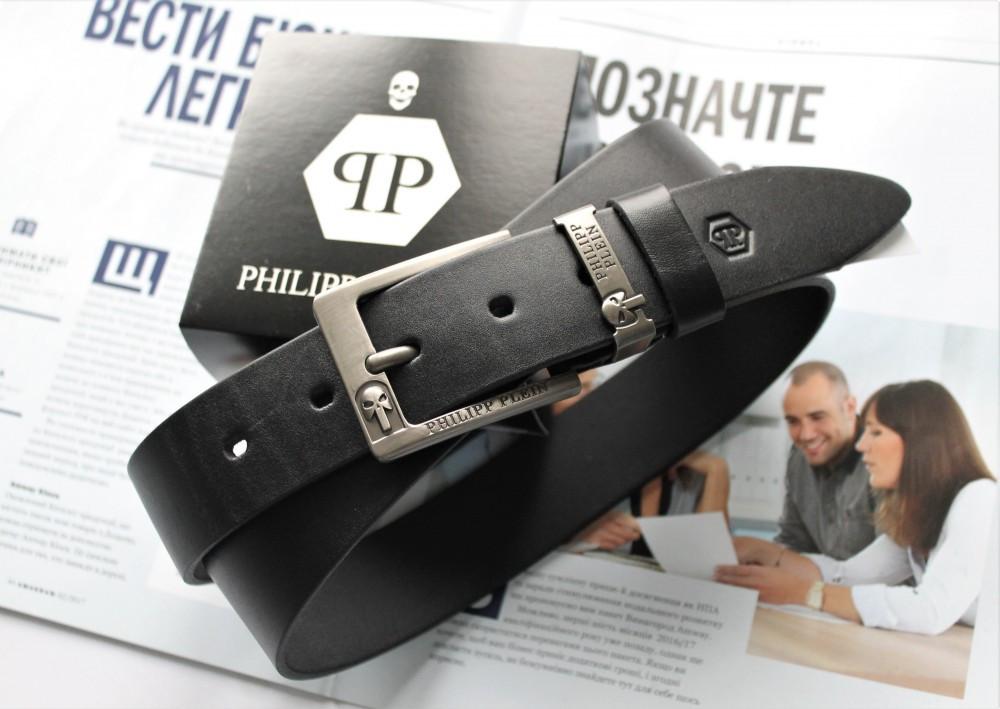Кожаный мужской ремень Philipp Plein Skull черный