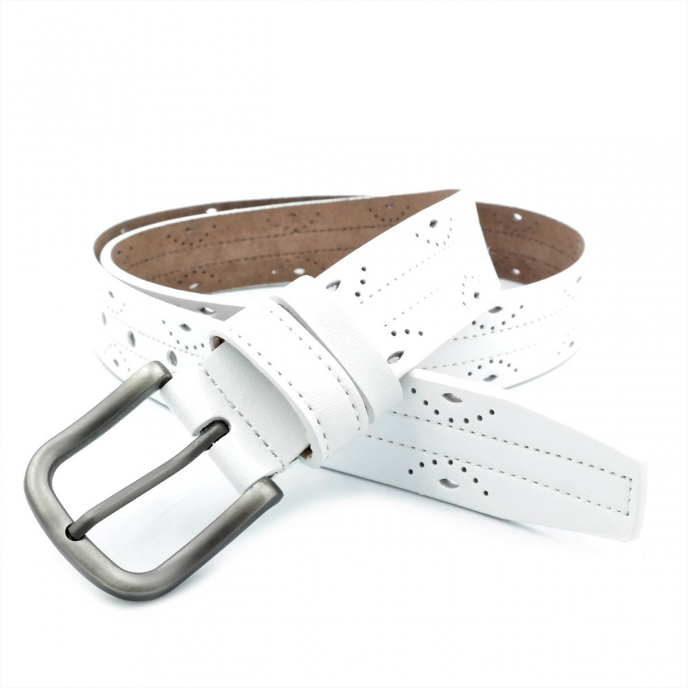 Женский кожаный ремень Weatro Белый nwzh-35k-100