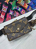 Женский ремень с навесными карманами Louis Vuitton коричневый, фото 4