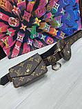 Женский ремень с навесными карманами Louis Vuitton коричневый, фото 5