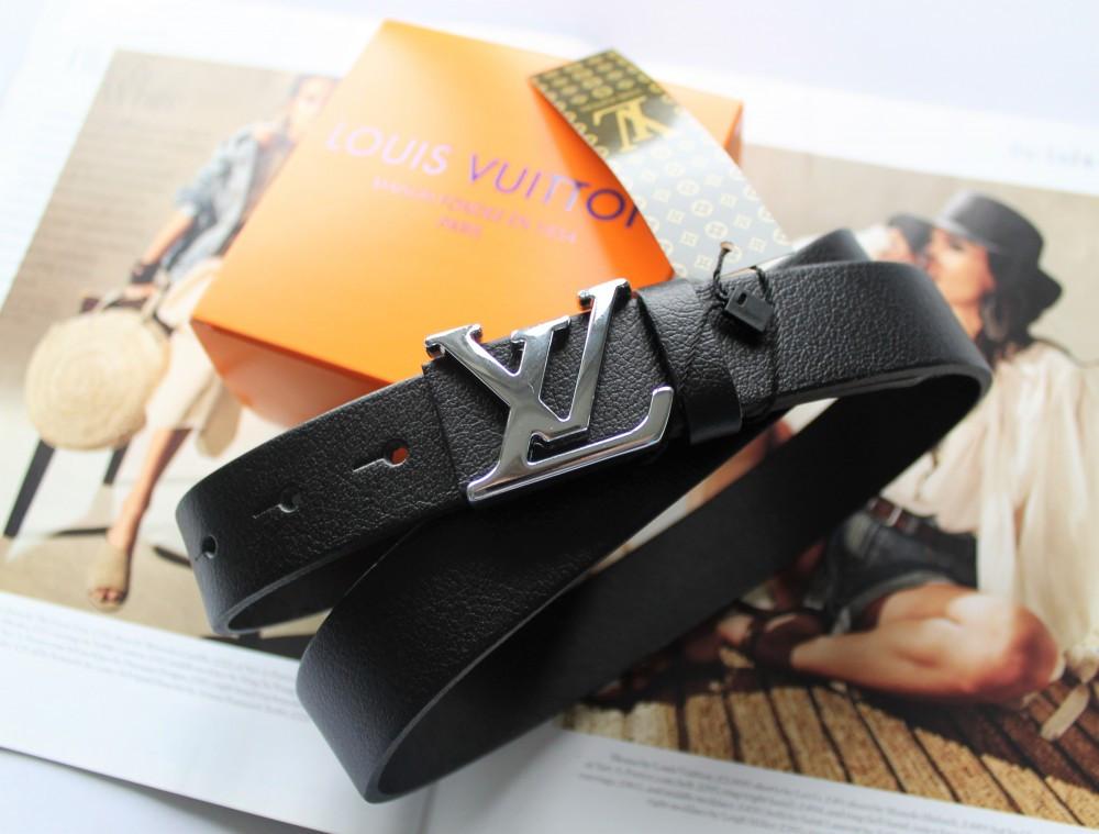 Женский кожаный ремень Louis Vuitton ширина 3 см пряжка глянцевое серебро черный