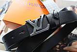 Женский кожаный ремень Louis Vuitton ширина 3 см пряжка глянцевое серебро черный, фото 3