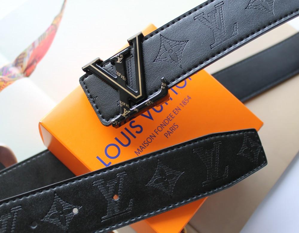 Кожаный ремень Louis Vuitton унисекс черный