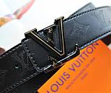 Кожаный ремень Louis Vuitton унисекс черный, фото 4