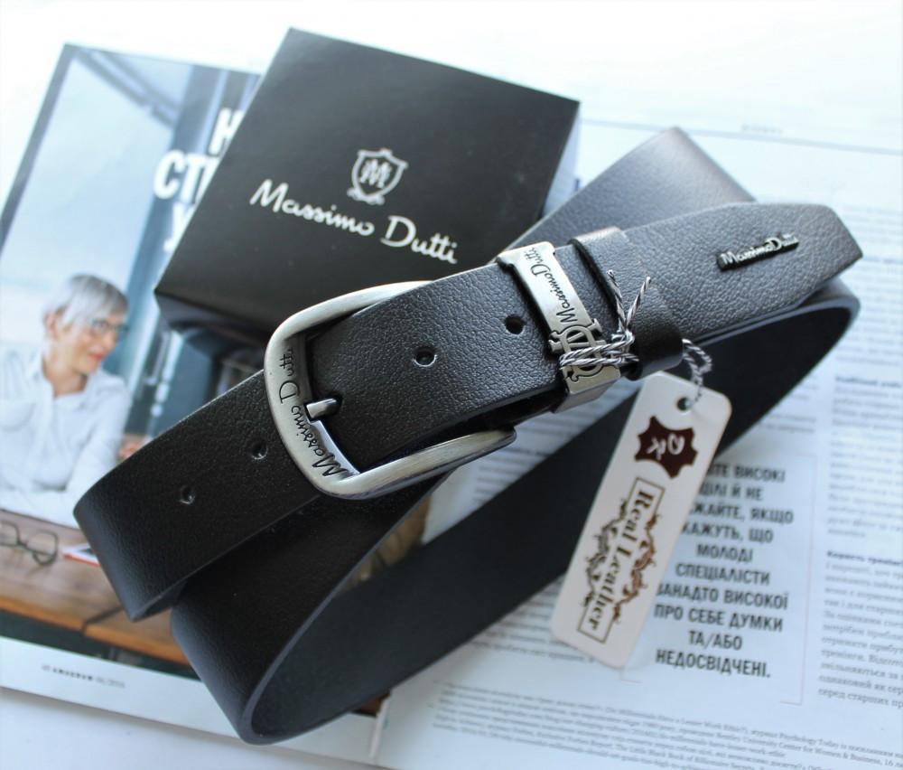Кожаный ремень Massimo Dutti черный