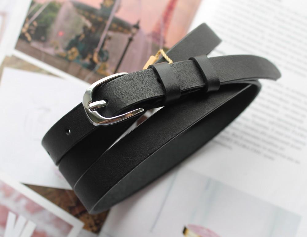 Женский узкий кожаный ремень на талию чёрный
