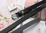 Женский узкий кожаный ремень на талию чёрный, фото 3