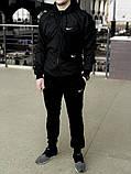 Комплект Чёрный Ветровка Найк (Nike) + Штаны + Барсетка в подарок. Спортивный костюм, фото 8