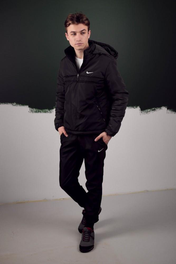 Мужской Чёрный весенний костюм. Анорак  Найк, Nike + Штаны  + подарок Барсетка