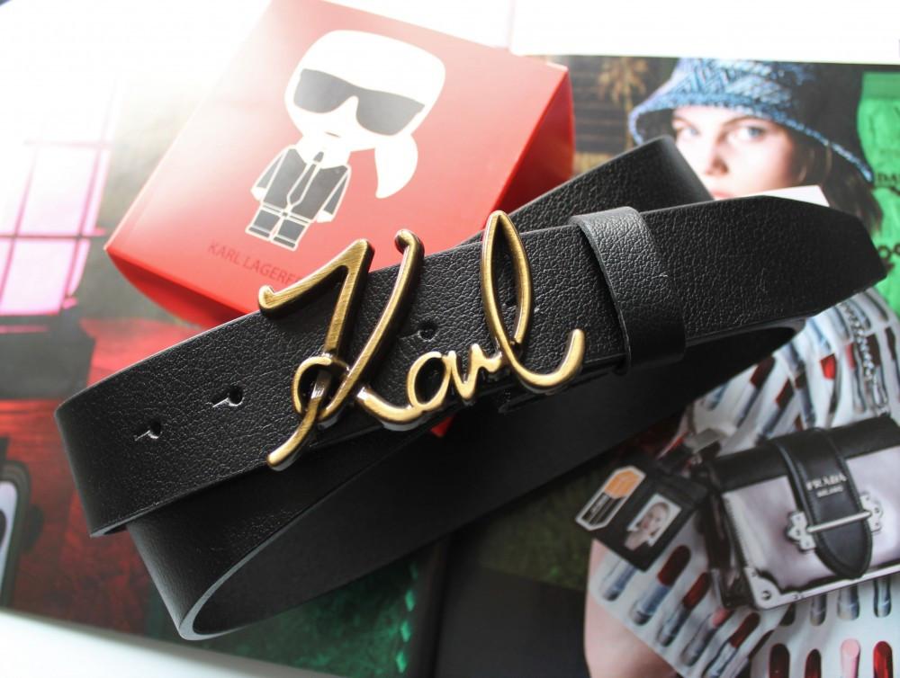 Кожаный женский ремешок Karl Lagerfeld пряжка бронза черный