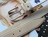 Женский кожаный моноцветный ремень бежевый, фото 3