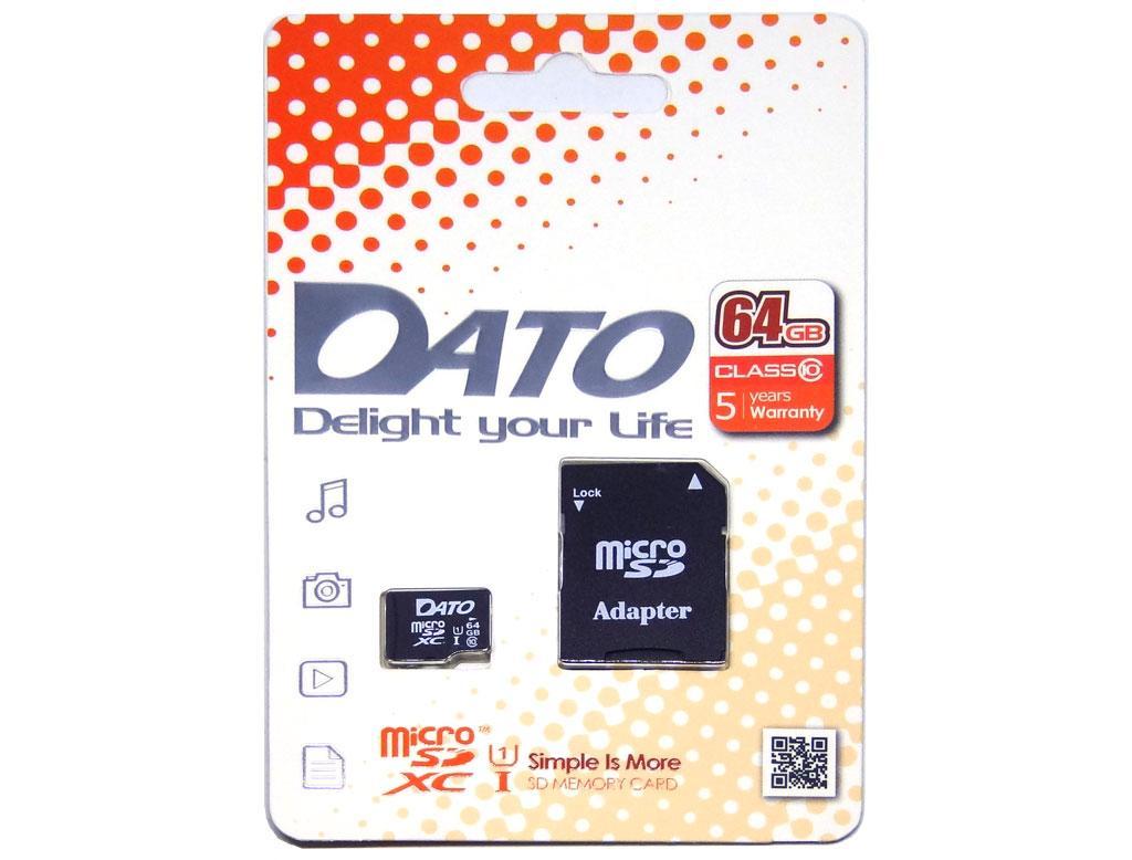 Карта памяти Dato 64GB microSD class10 UHS-1 (DTTF064GUIC10AD)