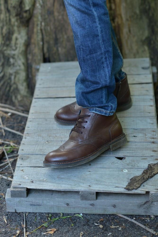 Ботинки броги коричневые натуральная кожа