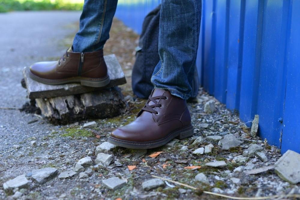 Ботинки коричневые натуральная кожа гладкая