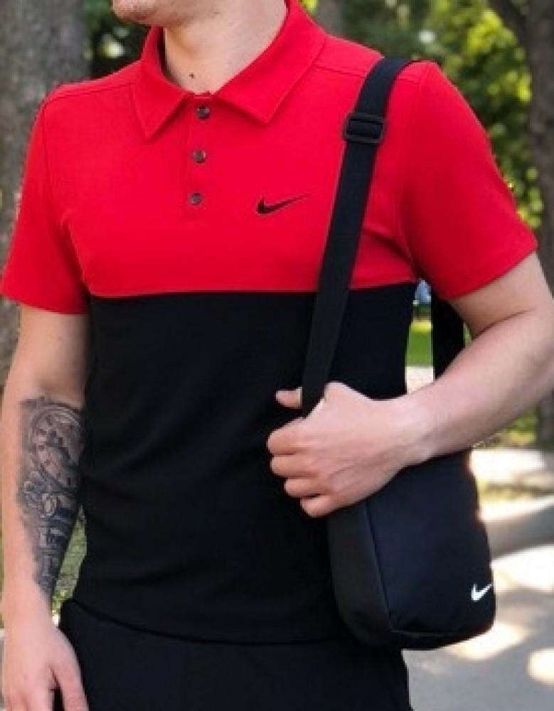 Футболка поло Nike красно-черная