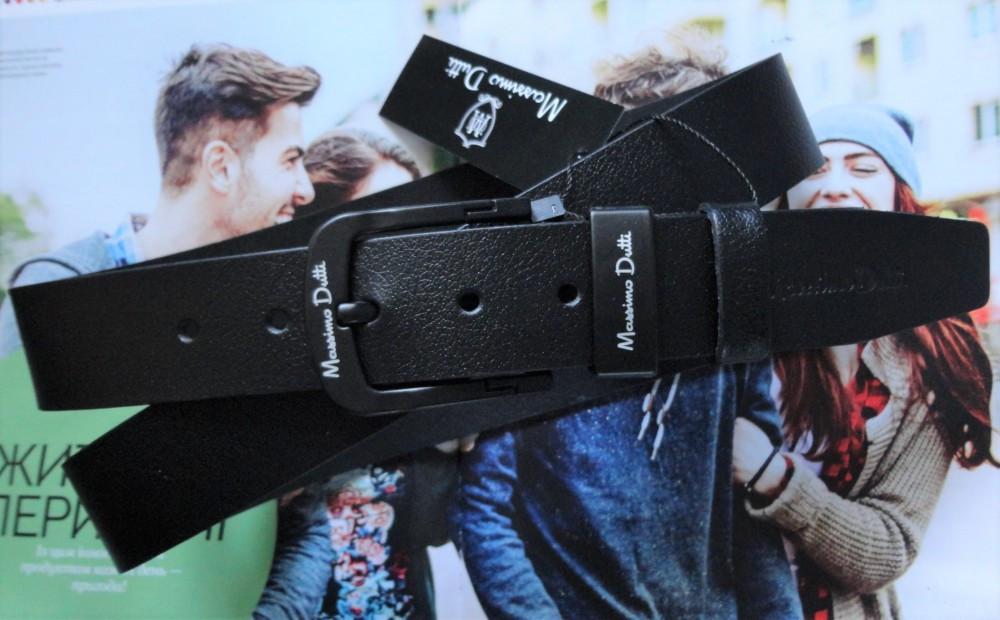 Мужской ремень для джинсов Massimo Dutti с черной пряжкой черный