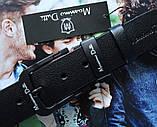 Мужской ремень для джинсов Massimo Dutti с черной пряжкой черный, фото 4
