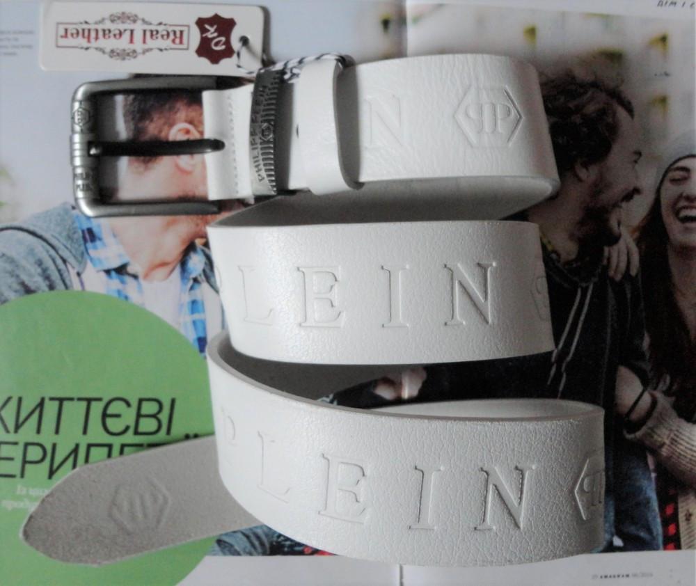 Мужской кожаный ремень Philipp Plein для джинсов white