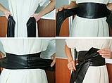 Женский широкий пояс кушак черный, фото 10