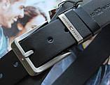 Мужской стильный кожаный ремень Tommy Hilfiger чёрный, фото 3