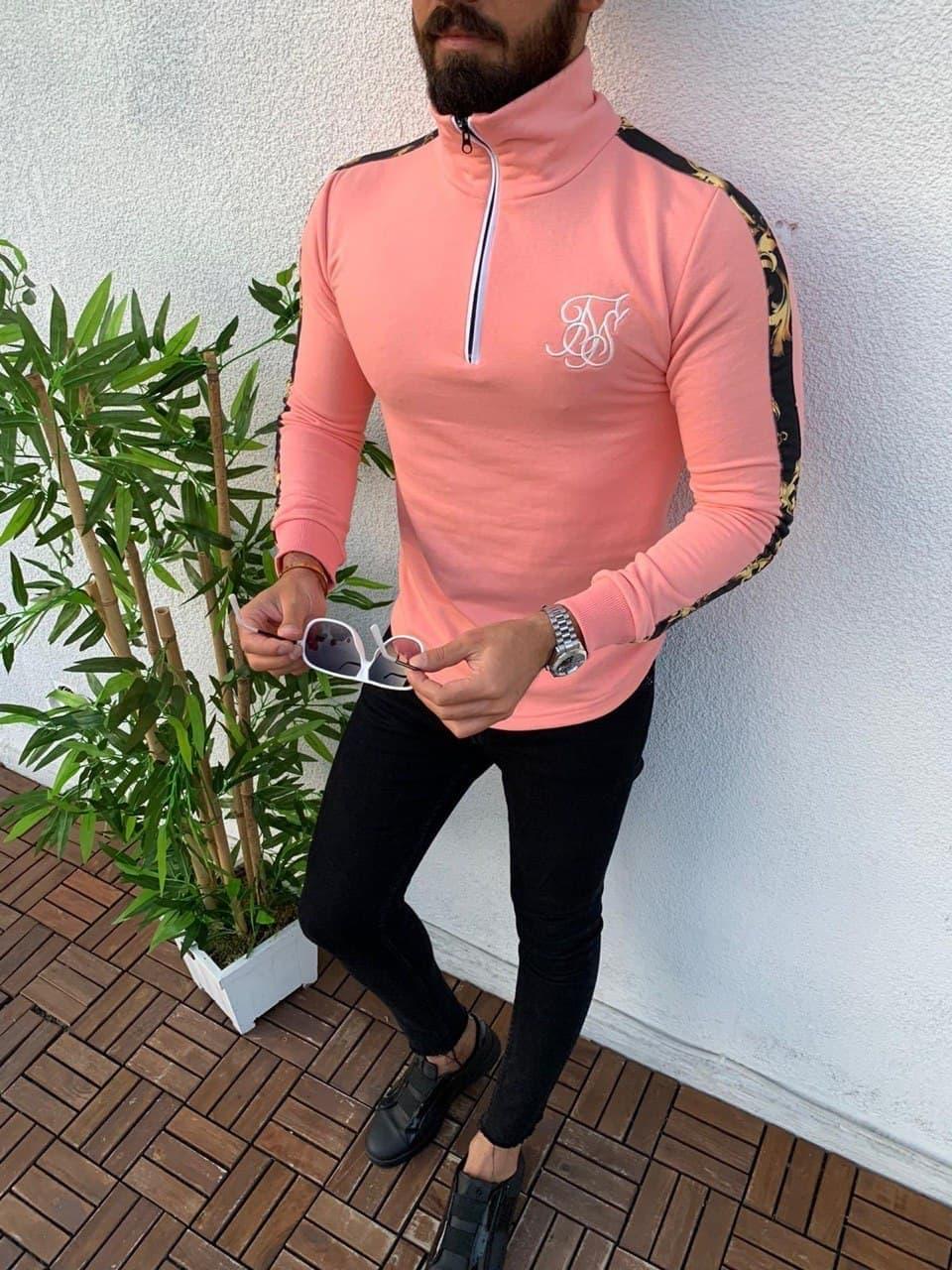 Мужская кофта худи Sik Silk M659 розовая