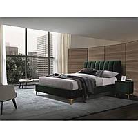 Кровать двуспальная зеленая велюр Signal Mirage Velvet 160х200см с золотыми ножками и ортопедическим каркасом