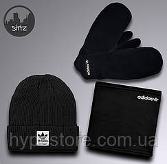 Мужской комплект еврозима шапка, варежки и баф Adidas теплый, Реплика